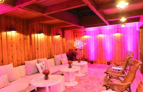 pink lighting japanese tea house decor for birthday party