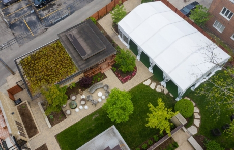 japanese tea house & tent aerial view